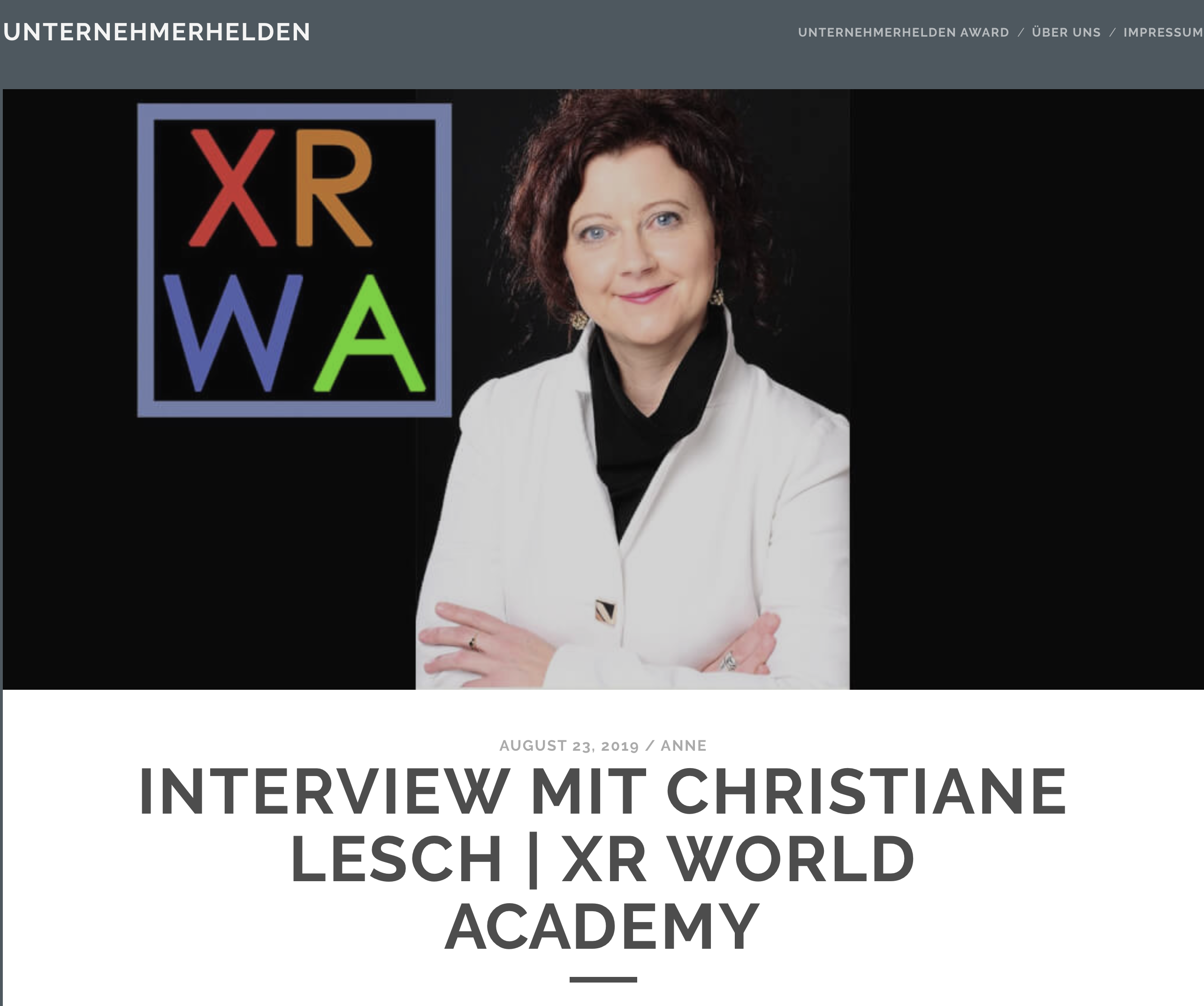 Interview Christiane Lesch XR WORLD ACADEMY on the nomination as founder hero